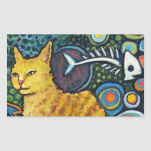 Rocky, The Rock Star Cat Products Rectangular Sticker