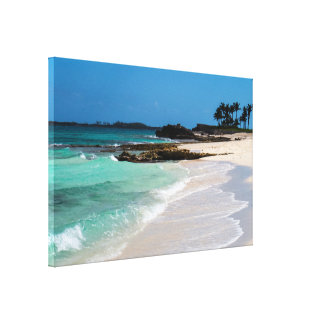 Rocky Tropical Beach&Ocean View Canvas Print