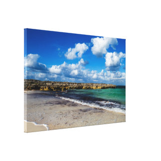 Rocky Tropical Beach View Canvas Print