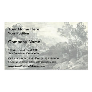 Rocky wooded landscape by Thomas Gainsborough Business Card Templates