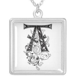 Rococo Monogram Letter A Square Pendant Necklace