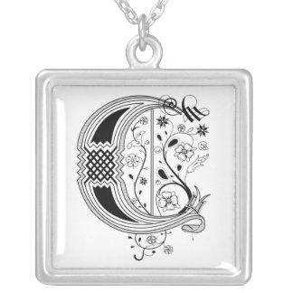Rococo Monogram Letter C Square Pendant Necklace