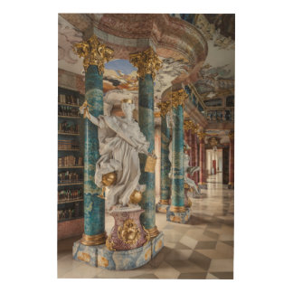 Rococo-Style Library Interior Wood Wall Decor