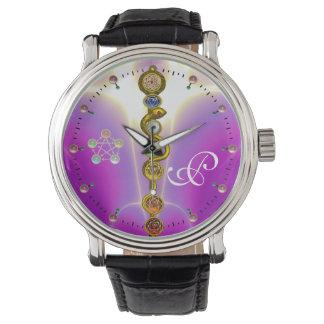 ROD ASCLEPIUS 7 CHAKRAS,YOGA SPIRITUAL ENERGY Pink Watch