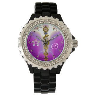 ROD ASCLEPIUS 7 CHAKRAS,YOGA,SPIRITUAL ENERGY Pink Watch