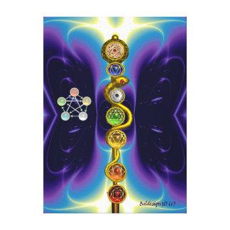 ROD OF ASCLEPIUS 7 CHAKRAS,YOGA ,SPIRITUAL ENERGY CANVAS PRINT