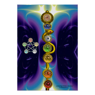 ROD OF ASCLEPIUS 7 CHAKRAS,YOGA ,SPIRITUAL ENERGY POSTER