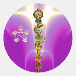 ROD OF ASCLEPIUS 7 CHAKRAS,YOGA ,SPIRITUAL ENERGY ROUND STICKER