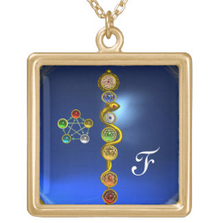 ROD OF ASCLEPIUS 7 CHAKRAS,YOGA ,SPIRITUAL ENERGY SQUARE PENDANT NECKLACE