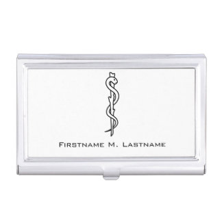 Rod of Asclepius Business Card Holder