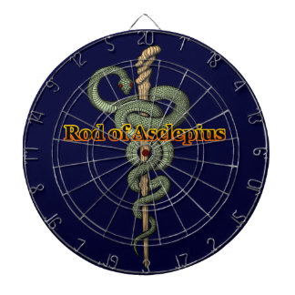 Rod of Asclepius Dartboard With Darts