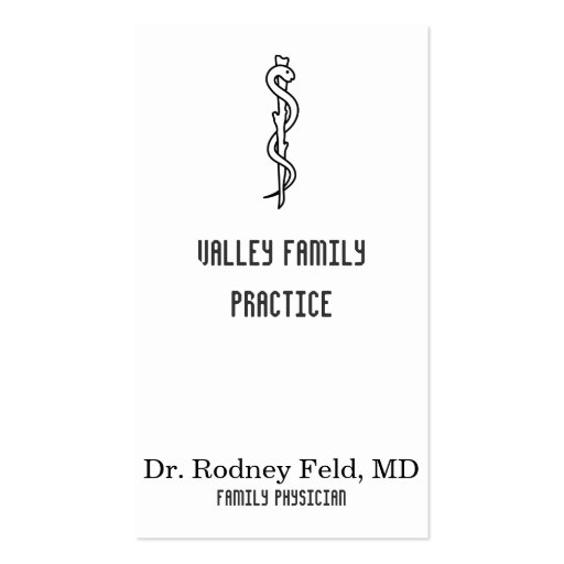 Rod Of Asclepius Medical Symbol Business Cards