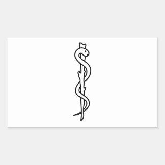 Rod of Asclepius [medical symbol] Rectangular Sticker