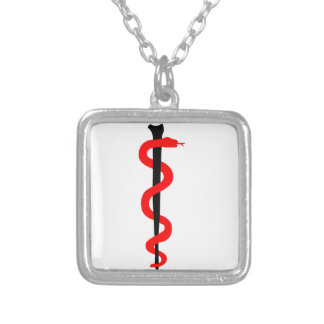 Rod of Asclepius Square Pendant Necklace