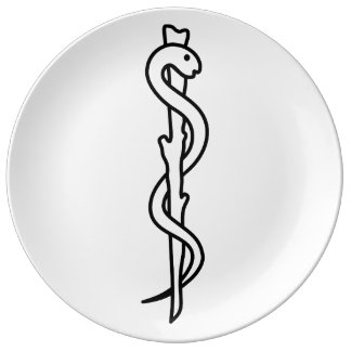 Rod of Asclepius Porcelain Plates