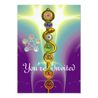 ROD OF ASCLEPIUS WITH 7 CHAKRAS ,SPIRITUAL ENERGY 13 CM X 18 CM INVITATION CARD