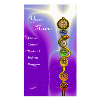ROD OF ASCLEPIUS WITH 7 CHAKRAS SPIRITUAL ENERGY BUSINESS CARD TEMPLATE