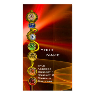 ROD OF ASCLEPIUS WITH 7 CHAKRAS ,SPIRITUAL ENERGY Double-Sided STANDARD BUSINESS CARDS (Pack OF 100)