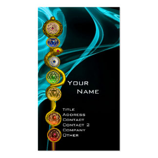 ROD OF ASCLEPIUS WITH 7 CHAKRAS ,SPIRITUAL ENERGY BUSINESS CARDS