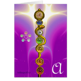 ROD OF ASCLEPIUS WITH 7 CHAKRAS ,SPIRITUAL ENERGY GREETING CARDS
