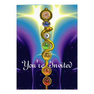 ROD OF ASCLEPIUS WITH 7 CHAKRAS SPIRITUAL ENERGY PERSONALIZED INVITE