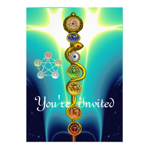 ROD OF ASCLEPIUS WITH 7 CHAKRAS ,SPIRITUAL ENERGY PERSONALIZED INVITES