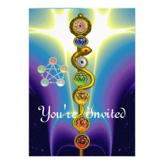 ROD OF ASCLEPIUS WITH 7 CHAKRAS ,SPIRITUAL ENERGY CUSTOM INVITATION