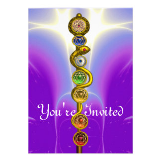 ROD OF ASCLEPIUS WITH 7 CHAKRAS SPIRITUAL ENERGY INVITE