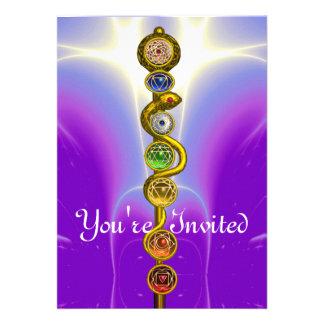 ROD OF ASCLEPIUS WITH 7 CHAKRAS SPIRITUAL ENERGY INVITE
