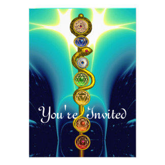 ROD OF ASCLEPIUS WITH 7 CHAKRAS SPIRITUAL ENERGY INVITATIONS