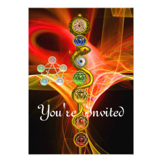 ROD OF ASCLEPIUS WITH 7 CHAKRAS SPIRITUAL ENERGY CARDS