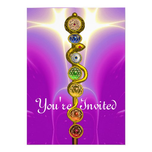 ROD OF ASCLEPIUS WITH 7 CHAKRAS ,SPIRITUAL ENERGY CUSTOM INVITATION