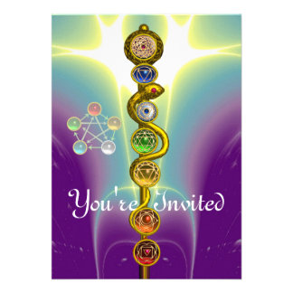 ROD OF ASCLEPIUS WITH 7 CHAKRAS SPIRITUAL ENERGY PERSONALIZED ANNOUNCEMENT