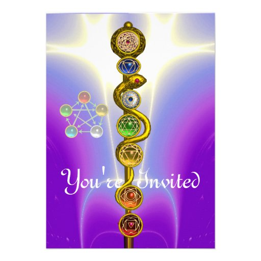 ROD OF ASCLEPIUS WITH 7 CHAKRAS ,SPIRITUAL ENERGY ANNOUNCEMENT