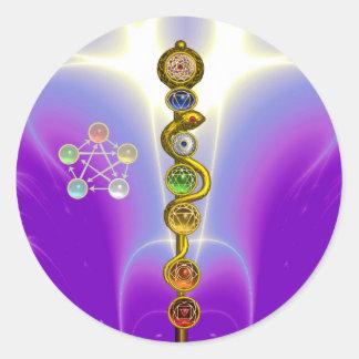 ROD OF ASCLEPIUS WITH 7 CHAKRAS ,SPIRITUAL ENERGY ROUND STICKER