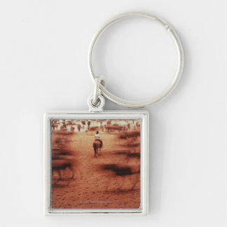 Rodeo arena,blurred motion,Texas, USA Key Ring