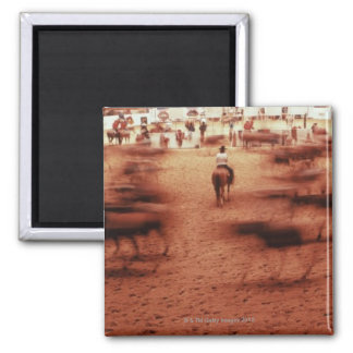 Rodeo arena,blurred motion,Texas, USA Magnet