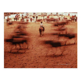 Rodeo arena,blurred motion,Texas, USA Postcard