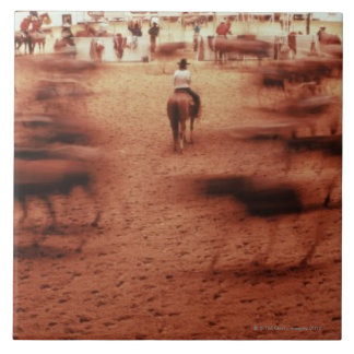 Rodeo arena,blurred motion,Texas, USA Tile