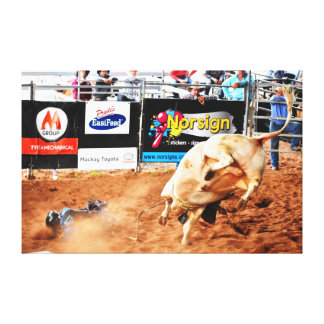 RODEO BULL AND RIDER QUEENSLAND AUSTRALIA CANVAS PRINT