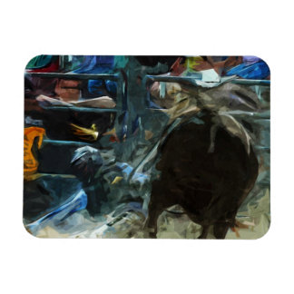 Rodeo Bull Ride Ending Abstract Impressionism Rectangular Photo Magnet