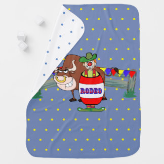Rodeo Clown With Bull Baby Blanket