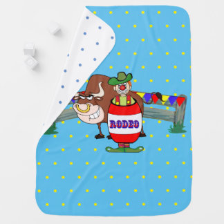 Rodeo Clown With Bull Light Blue Receiving Blanket