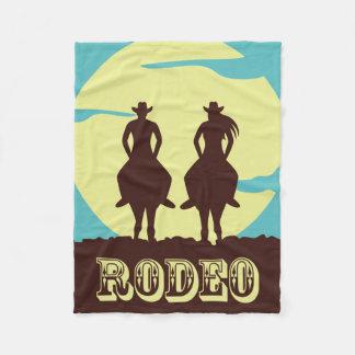 Rodeo Couple Ride Into Sunset Fleece Blanket