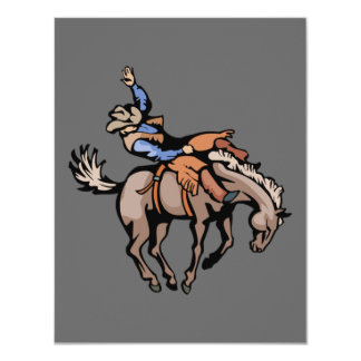 rodeo cowboy and bucking horse invitation