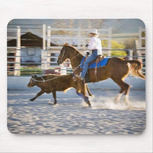 Rodeo cowboy calf roping mouse pads