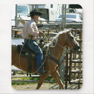 Rodeo Cowboy on Horseback Mouse Pad