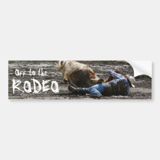 Rodeo Cowboy Steer Wrestling Bumper Sticker