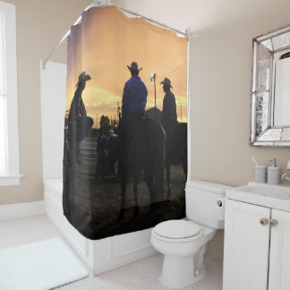 Rodeo Cowboys Sitting On Horses At The Rodeo Gate Shower Curtain