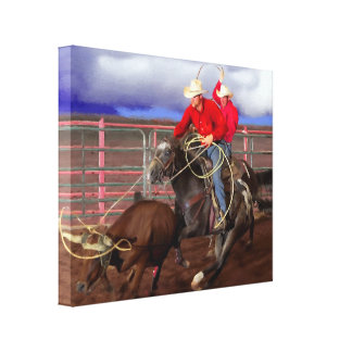 Rodeo - Cowboys - team roping Gallery Wrapped Canvas